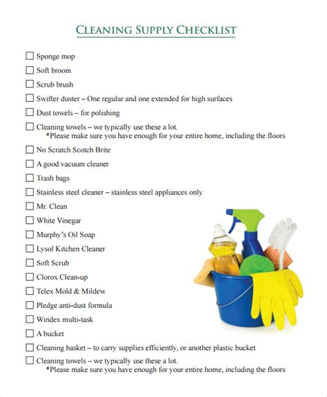 cleaning supplies checklist sle cleaning checklist 7 documents in word pdf