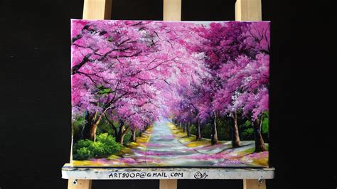 how to make acrylic paint run on canvas beautiful cherry blossoms road acrylic painting canvas