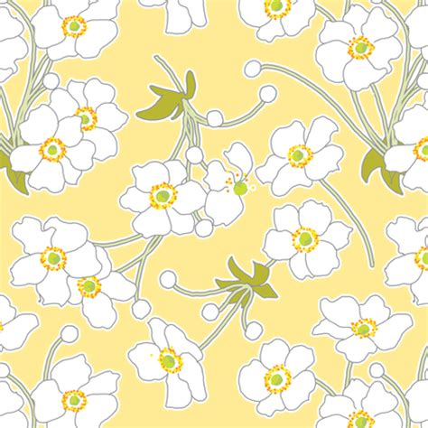 yellow japanese pattern japanese anenomes in yellow fabric anntuck spoonflower