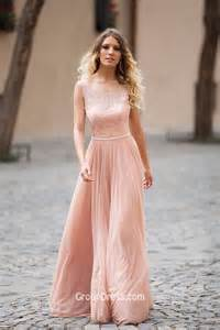 illusion lace boat neck sleeveless dusty pink long a line