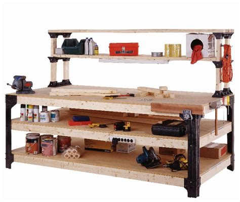 2x4 basics reloading bench 4 x8 workbench with shelves using 1 2x4basics