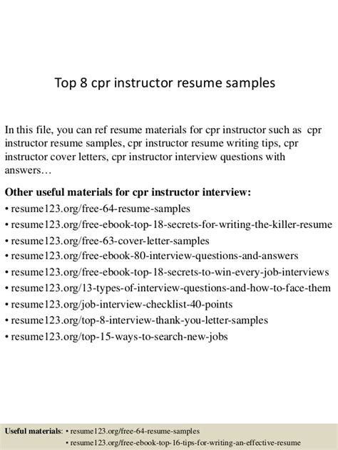 Cpr Instructor Sle Resume by Top 8 Cpr Instructor Resume Sles