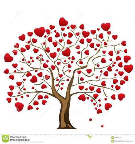 love tree with heart leaves stock vector image 65656742