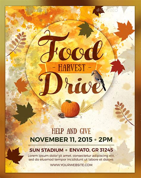 thanksgiving food drive flyer templates for free happy