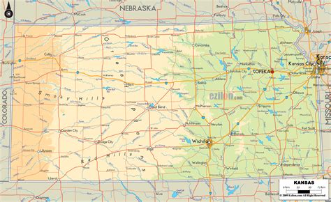 kansas state map physical map of kansas ezilon maps