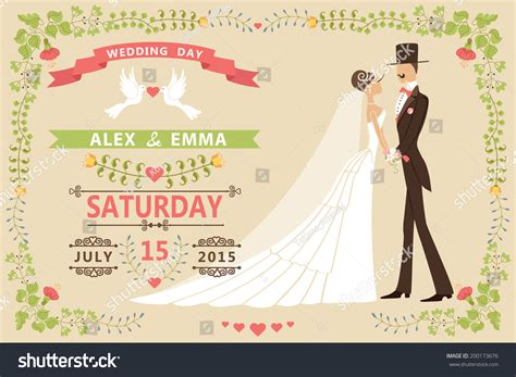 vintage wedding invitation design templatecartoon pigeons