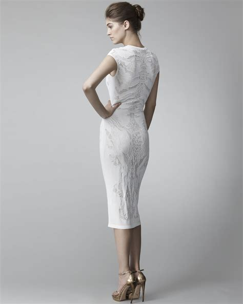 pattern simple sheath dress lyst alexander mcqueen lace pattern sheath dress in white