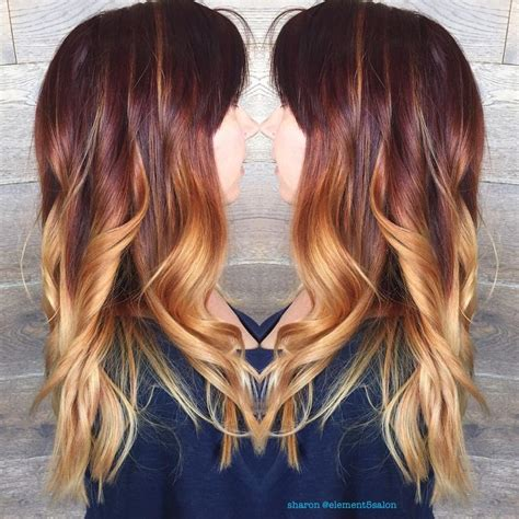 copper brown hair on pinterest color melting hair blonde hair exte red copper gold color melt by sharon hair by sharon