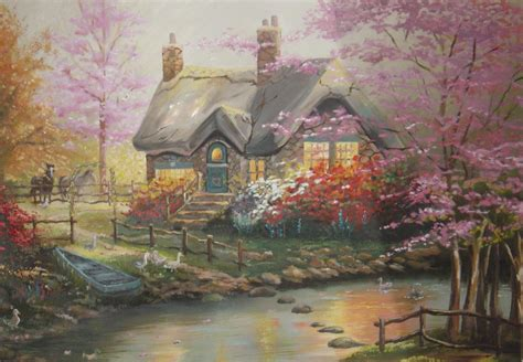 kinkade cottage painting kinkade cottage canoe cottage creek ducks forest