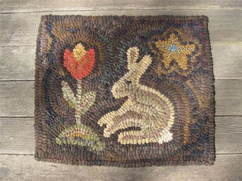 Rabbit Rug by Primitive Hooked Rug Rabbit And Tulip