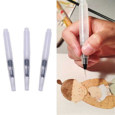 Kuas Lukis No 3 kuas lukis cat air water brush refillable 3pcs transparent jakartanotebook