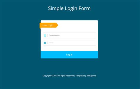 simple flat login form widget template by w3layouts