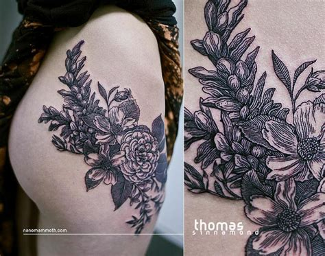 tattoos on buttocks flower side by sinnamond