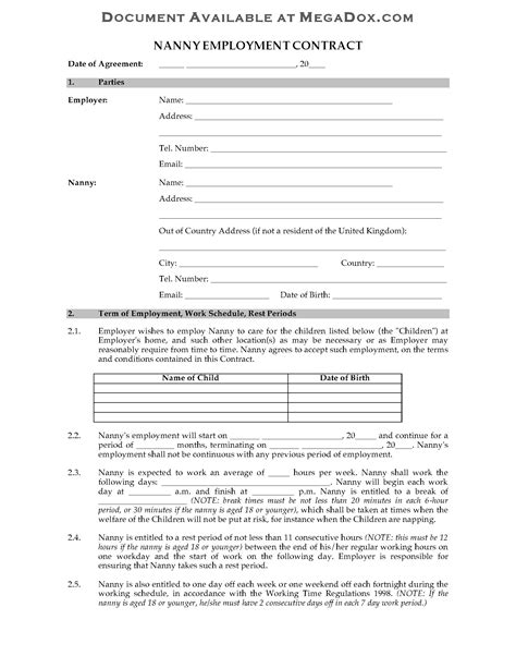 employment contract template free uk uk nanny employment contract forms and business