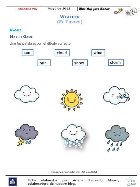 imagenes de weather en ingles actividades tiempo vocabulario en ingl 233 s cee juan