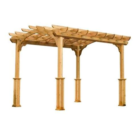 suncast cedar 8 ft x 10 ft pergola pa810 the home depot