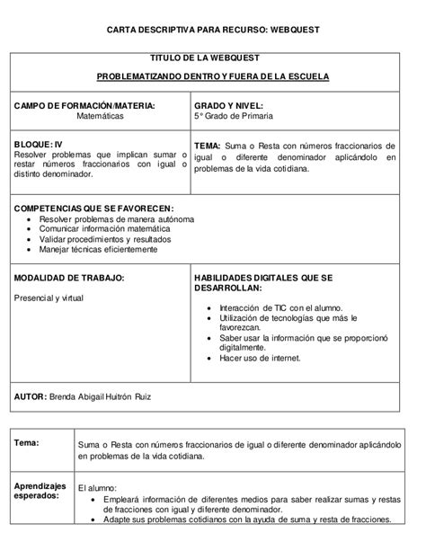 carta de consulta tecnica carta descriptiva para webquest