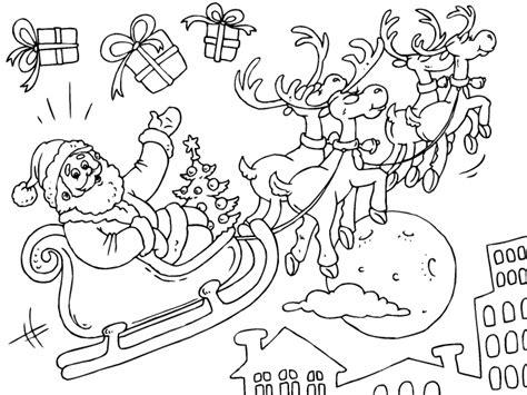 imagenes de santa claus con sus renos para colorear santa claus volando en su trineo de renos para imprimir