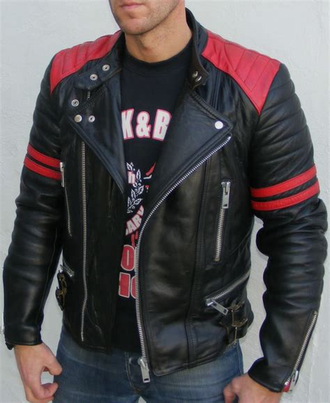 red and black motorcycle jacket vtg leather biker cafe racer jacket 36 small mens black
