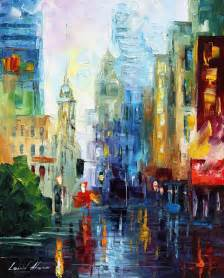 large paintings city after the rain palette knife oil painting on canvas