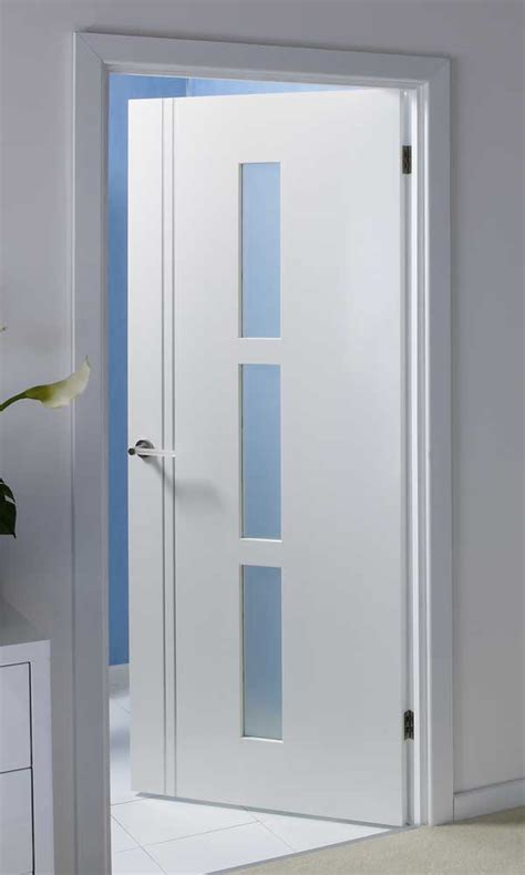 White Interior Glass Doors Solid Glazed Pre Finished White Door