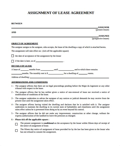 assignment of lease template 10 assignment of lease templates sle templates