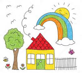doodle how to make house kid s drawing of a house rainbow and tree stock vector