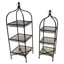 etagere joss and two freestanding metal etageres joss and for scrap