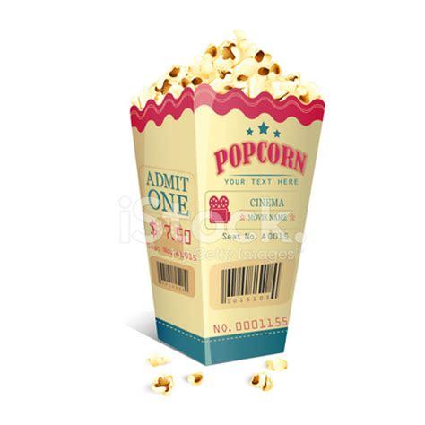 Printed Popcorn Box ticket printed on popcorn box stock vector