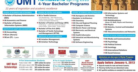 Umt Mba Admissions by Umt Admission 2016 Of Management And