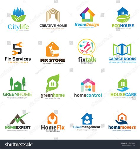 home improvement tips real star property management home real estate logo collection house stock vector