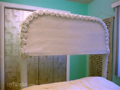 diy no sew slipcover easy no sew diy drop cloth rosette headboard slipcover