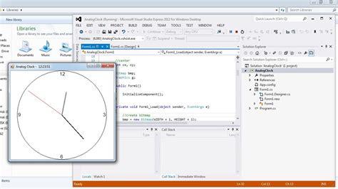 visual c tutorial microsoft visual studio analog clock in c doovi