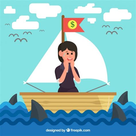 sinking boat surrounded by sharks businesswoman in boat surrounded by sharks vector free