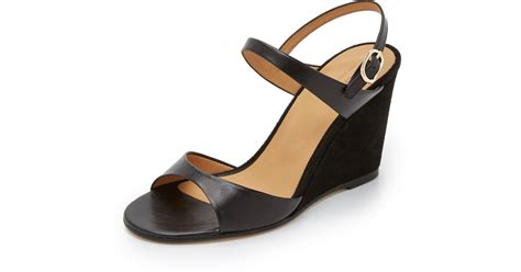 apc sandals a p c leather and suede wedge sandals in black lyst
