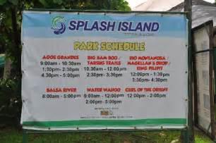 ride slide schedule picture of splash island binan