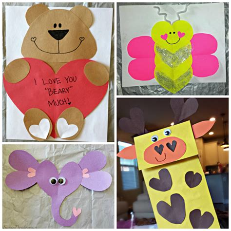 Holiday Crafts On Pinterest - valentine s day heart shaped animal crafts for kids crafty morning