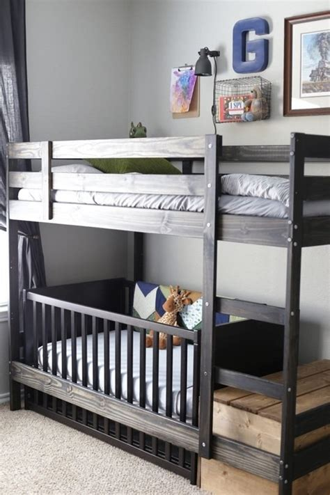 bunk bed with crib on bottom a crib for the bottom bed on the ikea mydal bunk bed