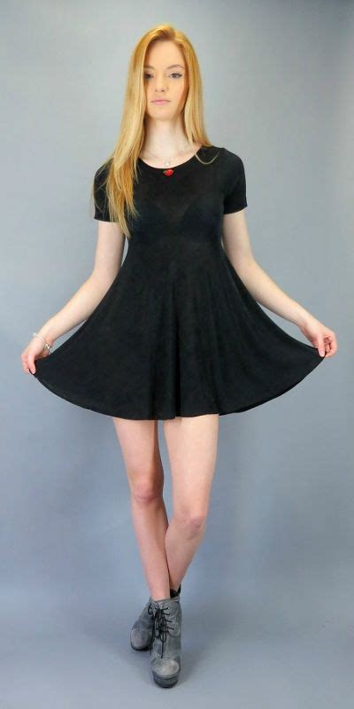 vintage  babydoll mini dress black stretch slinky short