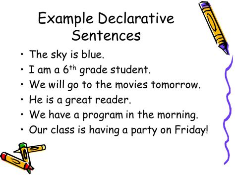 sentence template types of sentences language arts ppt