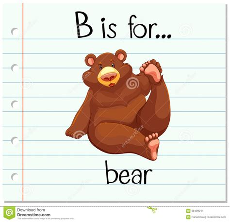 B For flashcard letter b is for stock vector image 68499044