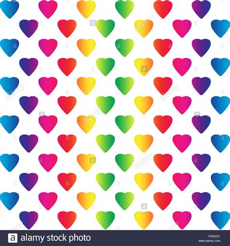 colored hearts bright rainbow colored hearts on white a seamless pattern