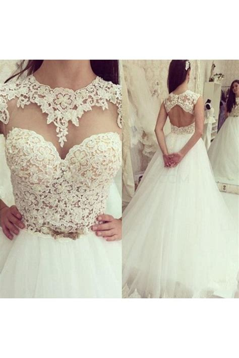 Sleeveless Lace Tulle Dress a line lace tulle sleeveless wedding dresses bridal gowns