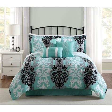 studio 17 downton black grey aqua 7 piece full queen