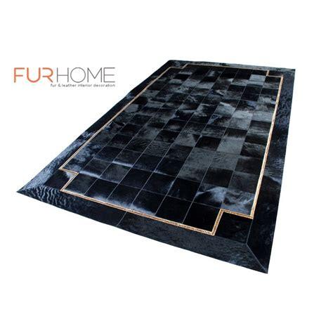 black hide rug modern black gold patchwork cowhide rug with croco frame fur home