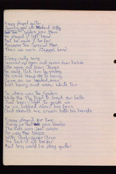lyrics david bowie written ziggy stardust lyrics by david bowie this