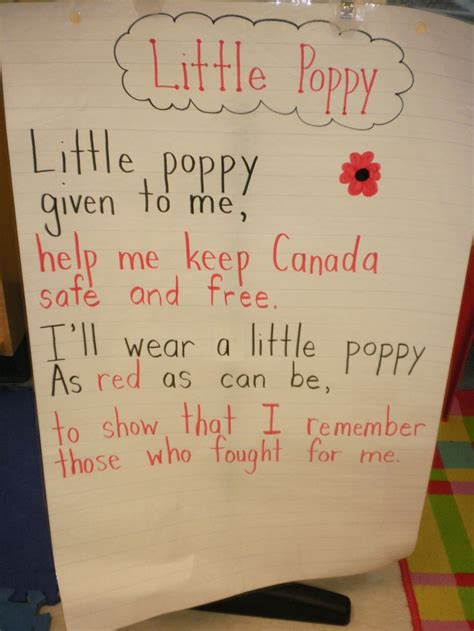 poppy poem from www canteach ca remembrance day