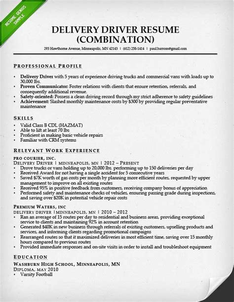 drivers cv template truck driver resume sle and tips resume genius
