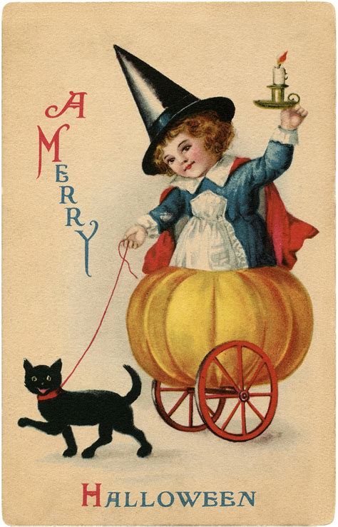 Vintage Sweet Halloween Witch Image   Darling!   The Graphics Fairy
