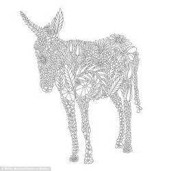 An image of a donkey from the colouring book is creatively constructed